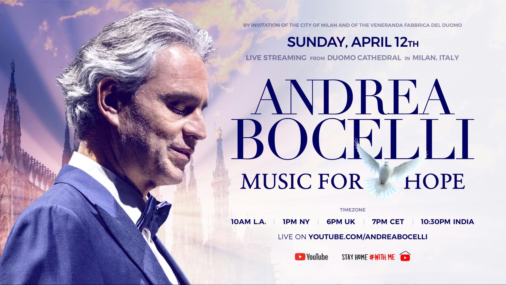 Andrea Bocelli anuncia apresentação solo na Itália