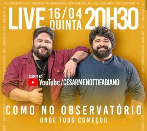 """César Menotti & Fabiano apresentam sucessos em live beneficente """"Só as Antigas"""""""