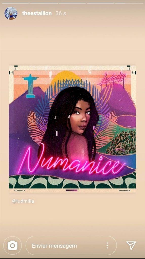 """Megan Thee Stallion reposta capa do EP de pagode """"Numanice"""", de Ludmilla"""