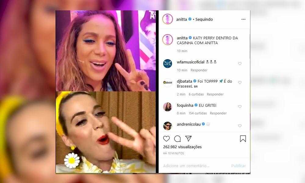 Anitta é elogiada por Katy Perry em live e sugere feat