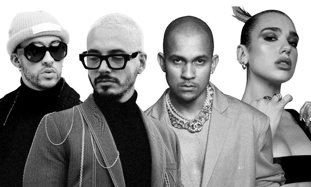 """""""Un Día (One Day"""" de J Balvin, Dua Lipa, Bad Bunny e Tainy segue no topo da parada latina da Billboard"""