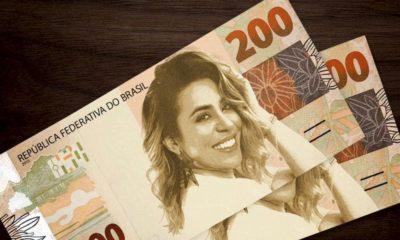 Naiara Azevedo brinca no Facebook e aparece em uma nota de R$ 200