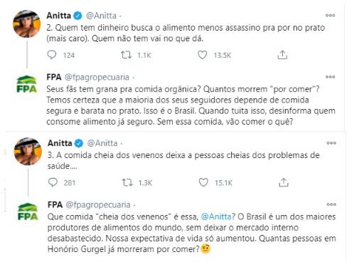 """Anitta é respondida por Frente Agropecuária após post: """"Você entendeu errado"""""""