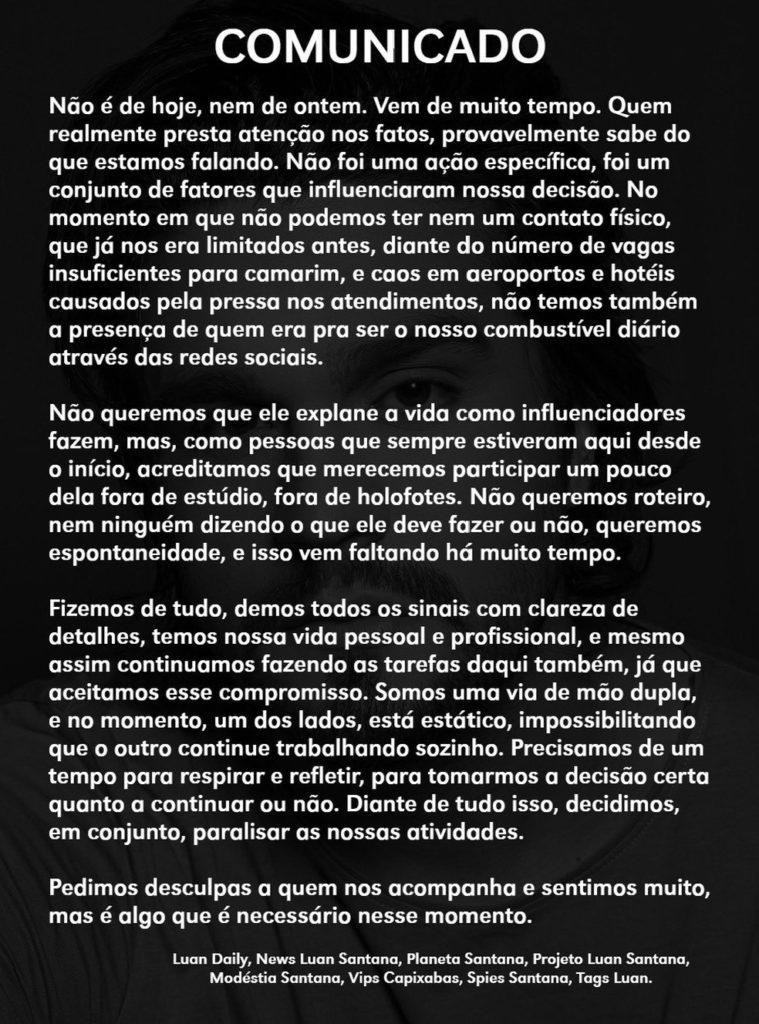 """Fã clubes de Luan Santana anunciam pausa: """"Não podemos ter nem contato físico"""""""