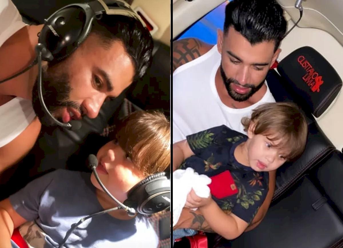 Gusttavo Lima curte passeio de helicóptero com seus filhos
