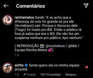 Anitta quer trabalhar com Sarah do BBB21