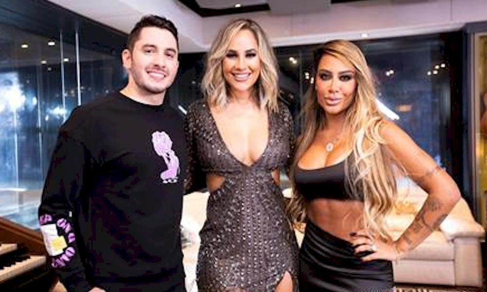 Michele Andrade grava clipe com Jonas Esticado e Rafaella, irmã de Neymar