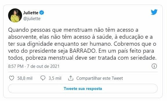 "Juliete critica Bolsonaro: ""Cobremos que o veto do presidente seja barrado"""